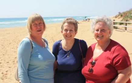 'Rehearsal? What rehearsal?' As members of the ladies' sections relax on the beach!